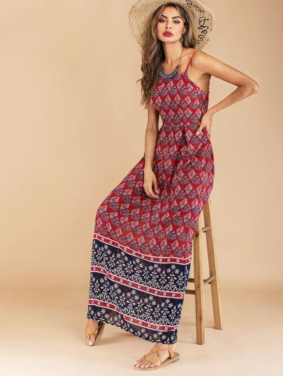 Tribal Print Maxi Cami Dress