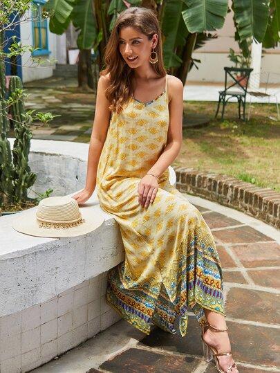 Tribal Print Split Side Cami Dress