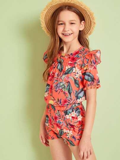Girls Pom Pom Trim Top & Tropical Shorts Set Orange Vacation Outfit