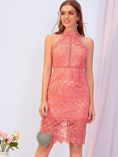 Backless Split Hem Guipure Lace Pencil Dress