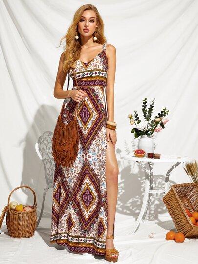 Peekaboo Tie Back Split Thigh Tribal Print Dress