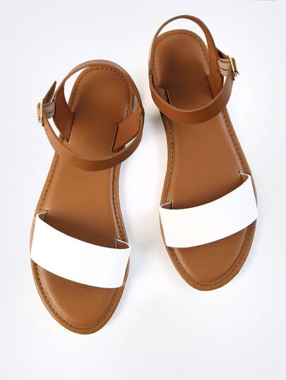 Two Tone PU Open Toe Sandals Summer Leather Look Buckle