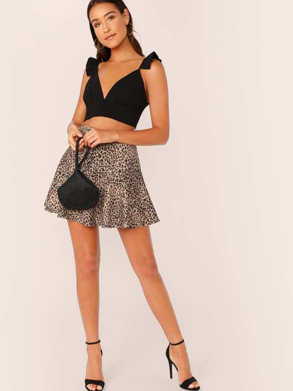 Ruffle Strap Plunging Triangle Bralette Top