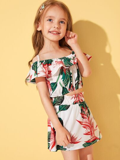Toddler Girls Tropical Cold Shoulder Top & Paperbag Waist Skirt Set Two Piece Vacation