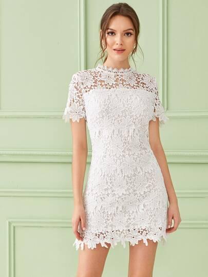 short sleeve lace white wedding dress