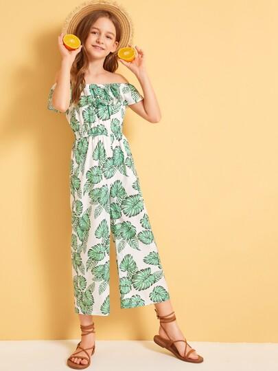 Girls Tropical Print Flounce Foldover Bardot Jumpsuit Tropical Vacation Green