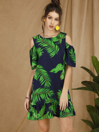 Tropical Cold-shoulder Ruffle Hem Dress