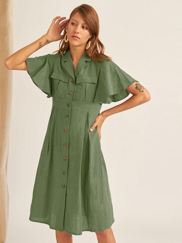 Flutter Sleeve Flap Pocket Detail Shirt Dress