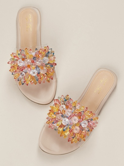 Jewel Crystal Detail Open Toe Clear Band Slide Sandals Wedding Special Occasion Sandals Shoes Summer