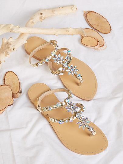 Jewel Decor Toe Post Sandals Bling Beach Wedding Shoes Summer Buckle