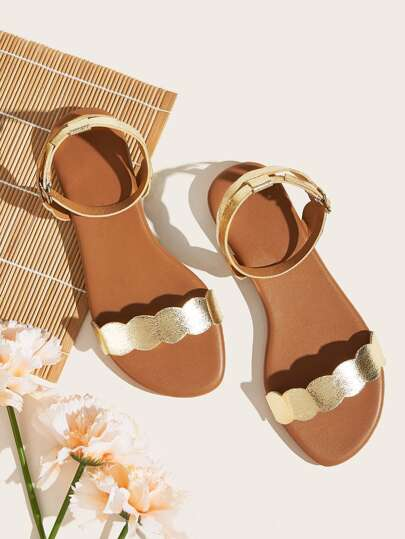 Scalloped Ankle Strap Flat Sandals Buckle Strap Gold Women's Shoes Summer