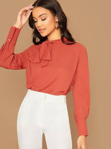 Tie Neck Curved Hem Solid Top