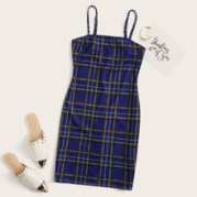Tartan Print Slip Dress