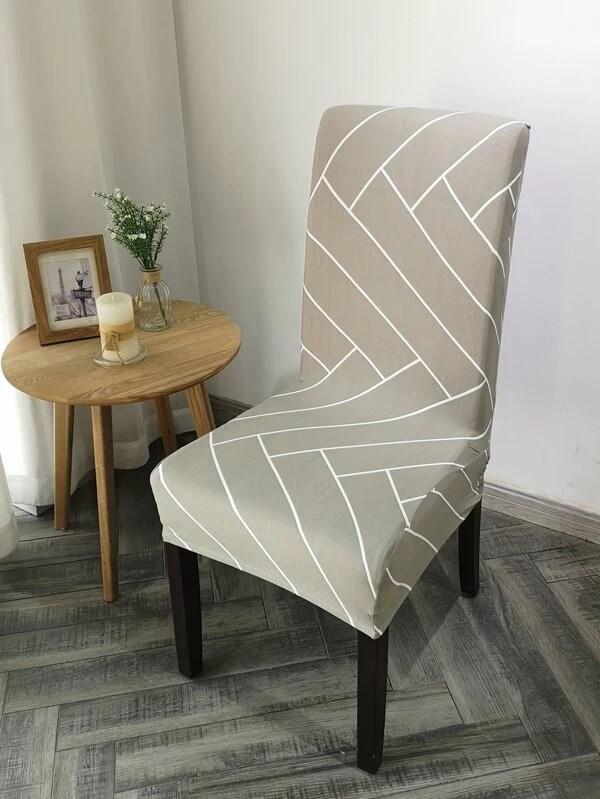 housse de chaise extensible a motif geometrique
