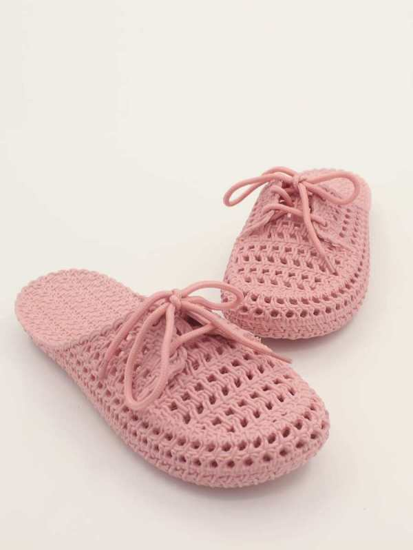 Round Toe Lace-up Front Slides