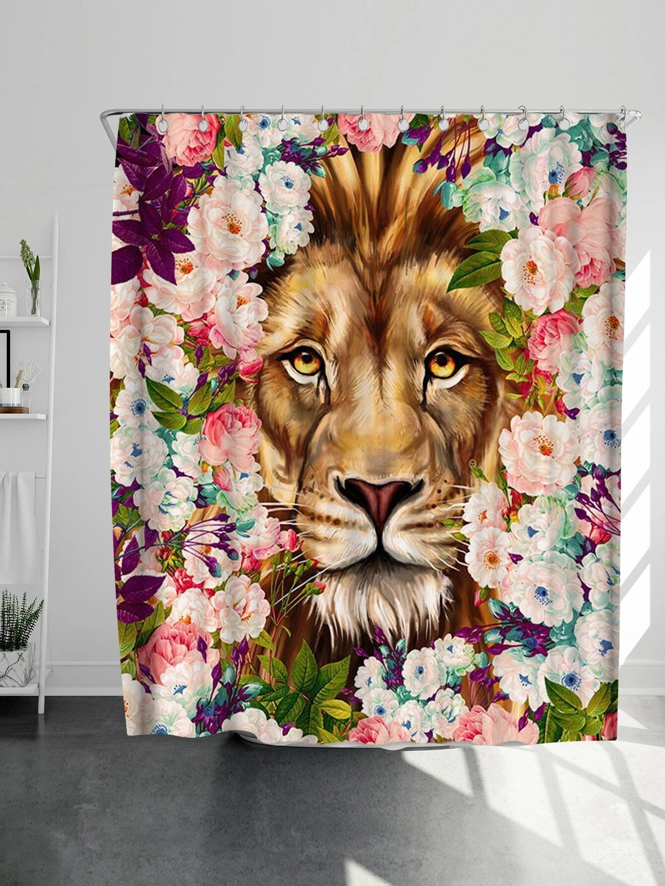 lion print shower curtain 12pcs hooks