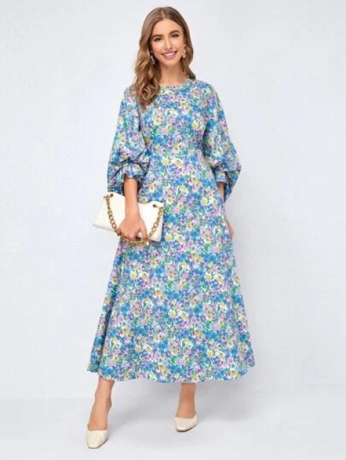 Robe à imprimé floral à manches bouffantes