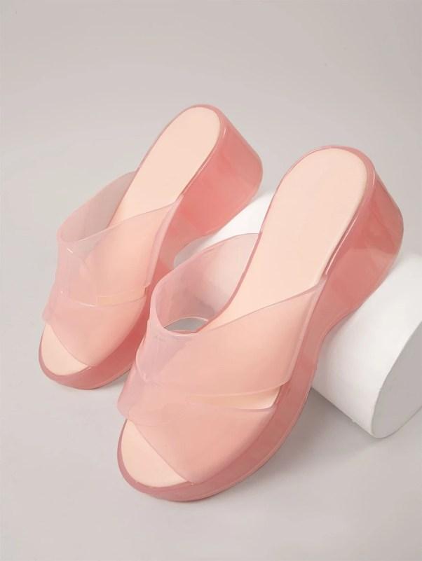 Jelly Platform Slip-On Sandals Shein