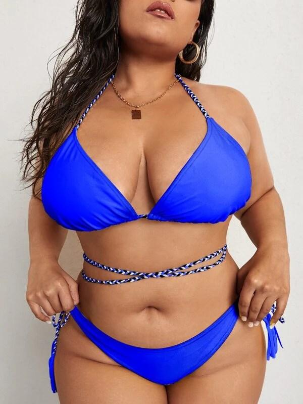 Plus Halter Triangle Tie Side Bikini Swimsuit