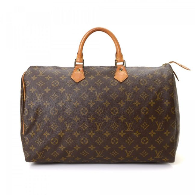 Louis Vuitton Speedy 40 Monogram Brown Coated  Canvas Handbag