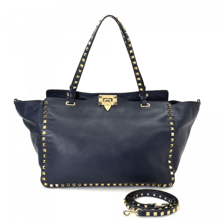Valentino Studded Tote Bag Navy Leather Tote