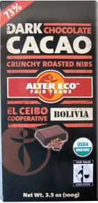 alter eco 73% chocolate with cocoa nibs