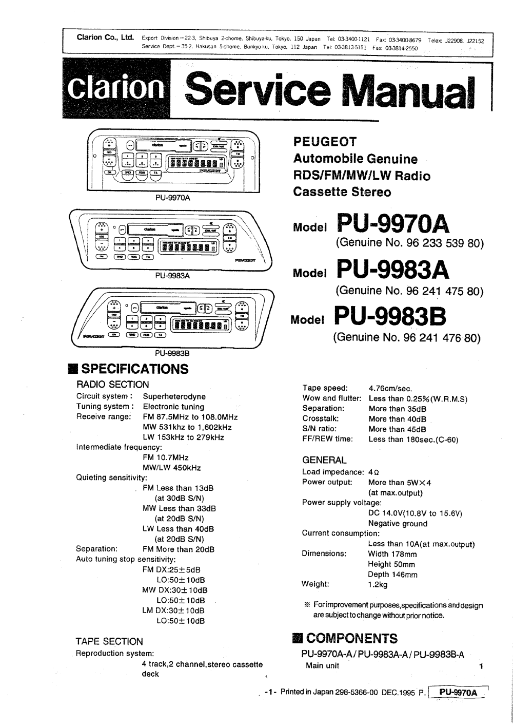 medium resolution of clarion pu9970a service manual