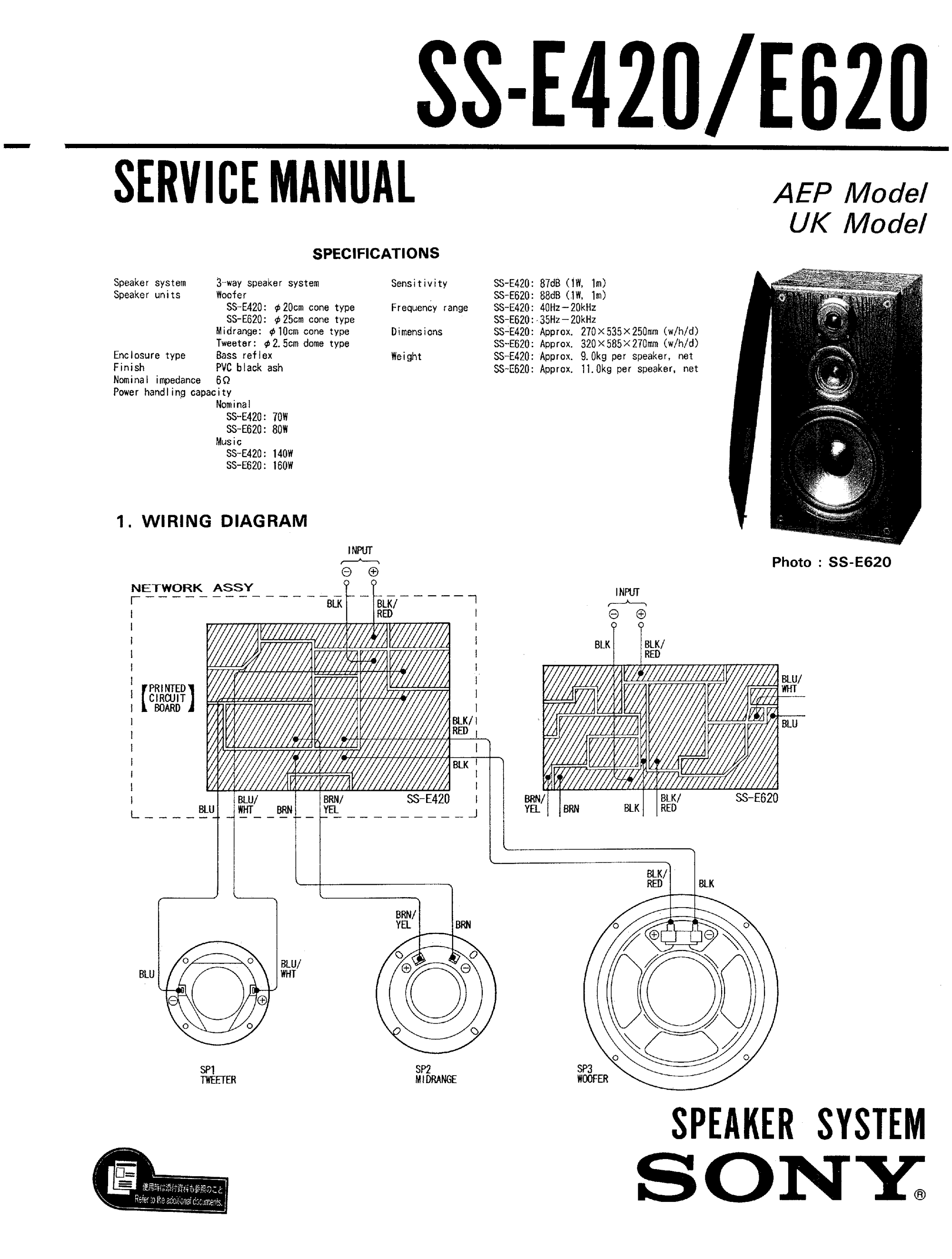 hight resolution of sony sse420 service manual