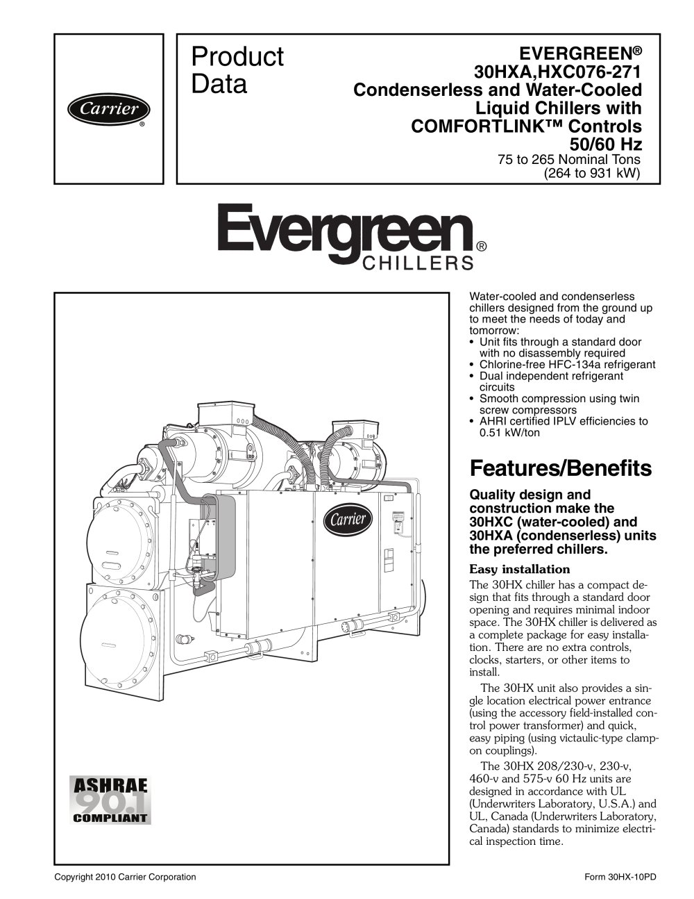 carrier 30hxc chiller wiring diagram 2000 chevy cavalier radio evergreen 30hxa hxc076 271 commercial pdf catalogs 1 52 pages