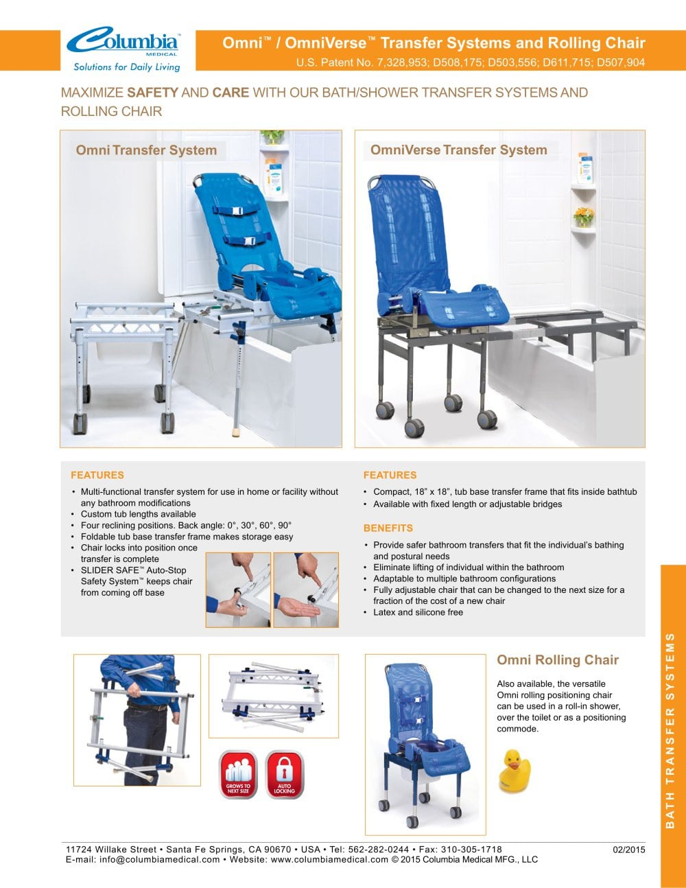 columbia medical bath chair recliner covers for incontinence omni ov inspired pdf catalogs technical documentation 1 2 pages