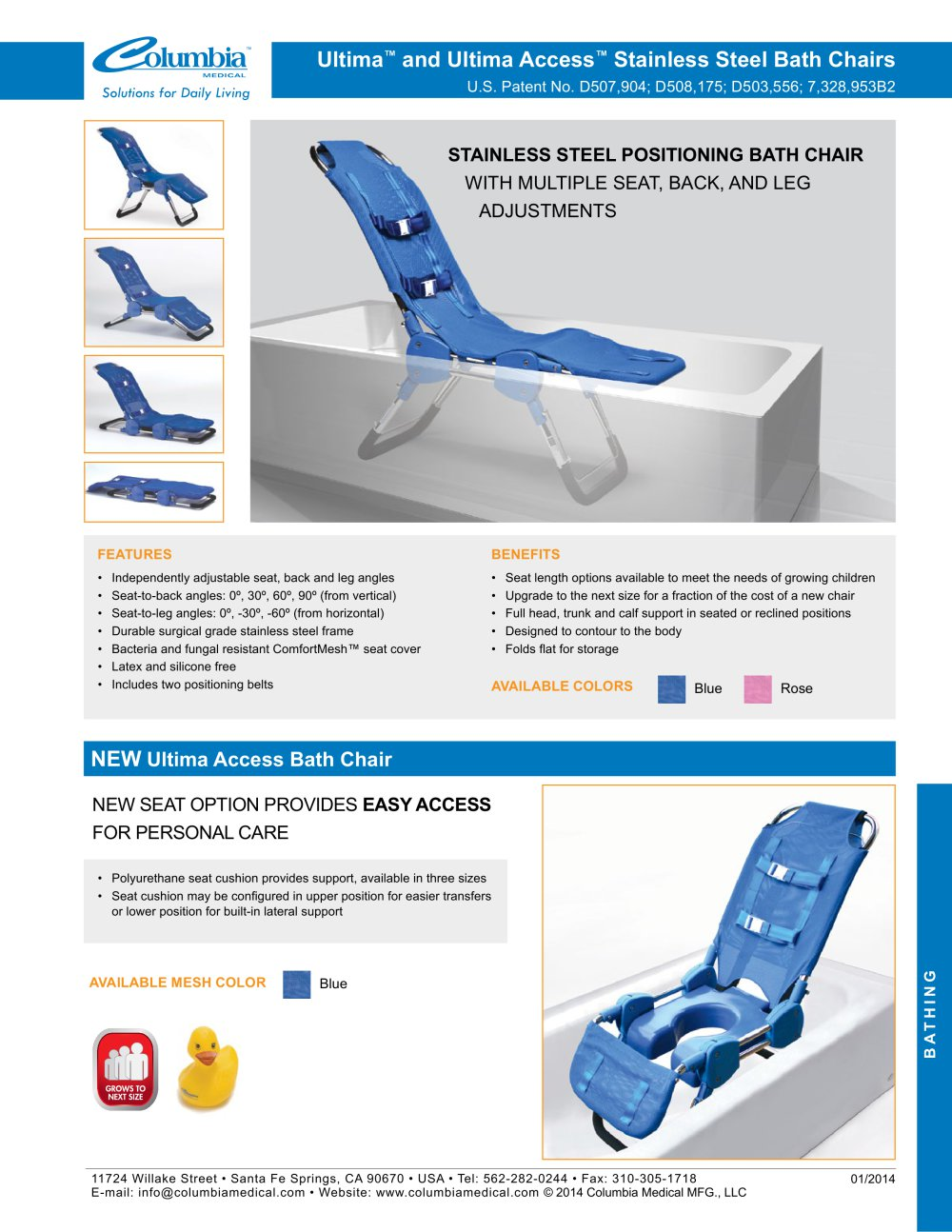 columbia medical bath chair folding auction ultima and access stainless steel chairs inspired 1 2 pages
