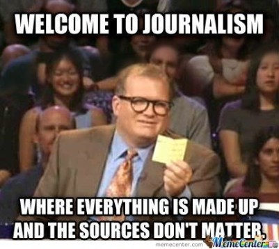 A meme showing how people doubt the credibility of everything reported by the journalists.