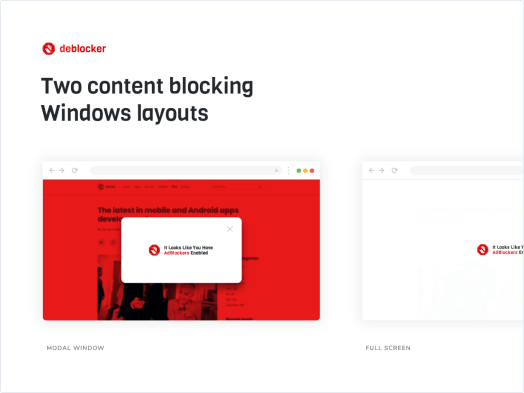 Two content blocking Windows layouts