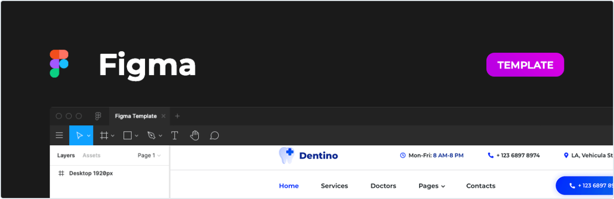 Dentino – Dental Clinic Template for Figma