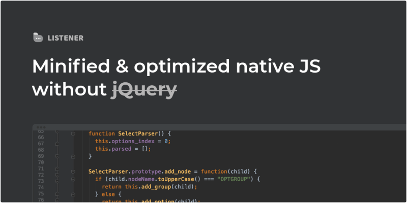 Minified and optimized native JS without jQuery