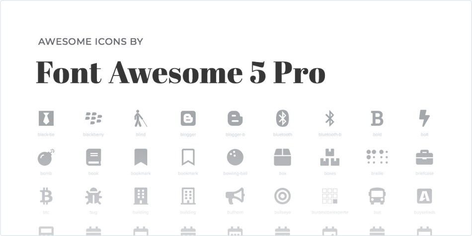 Awesome Icons of Font Awesome 5 Pro
