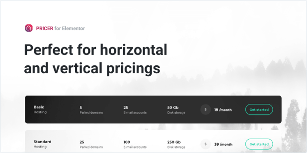 Perfect for horizontal and vertical pricings