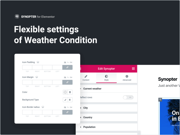 Flexible settings of Weather Condition