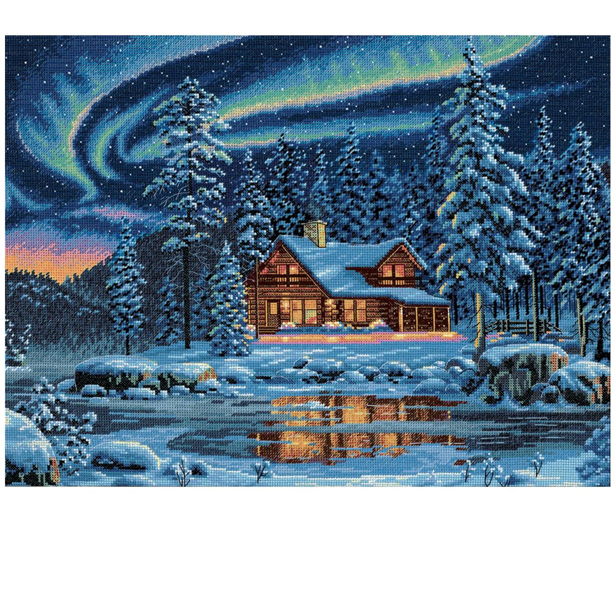 Dimensions Counted Cross Stitch Kit Aurora Cabin