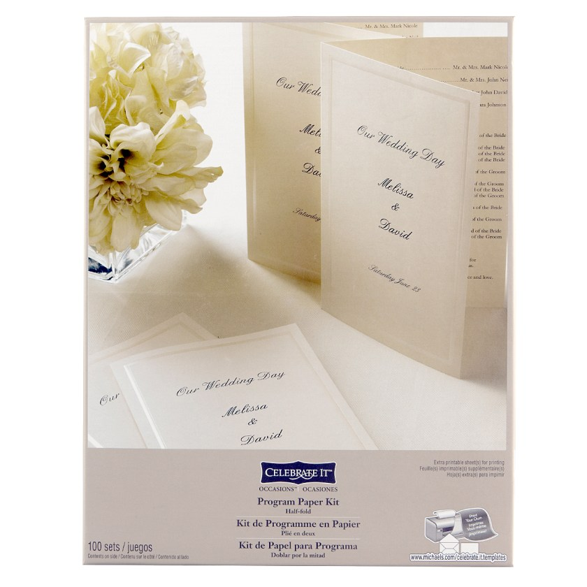 Celebrate It Occasions Half Fold Program Paper Kit Ivory