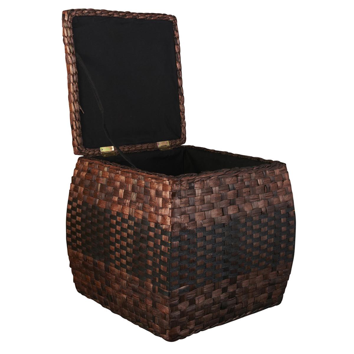 Ashland Rush Ottoman With Hinged Lid Storage Basket