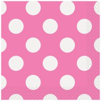 Hot Pink Polka Dots Beverage Napkins, 40ct