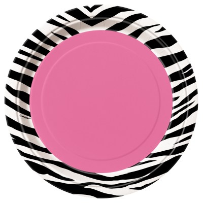 Pink and Zebra print baby shower plates