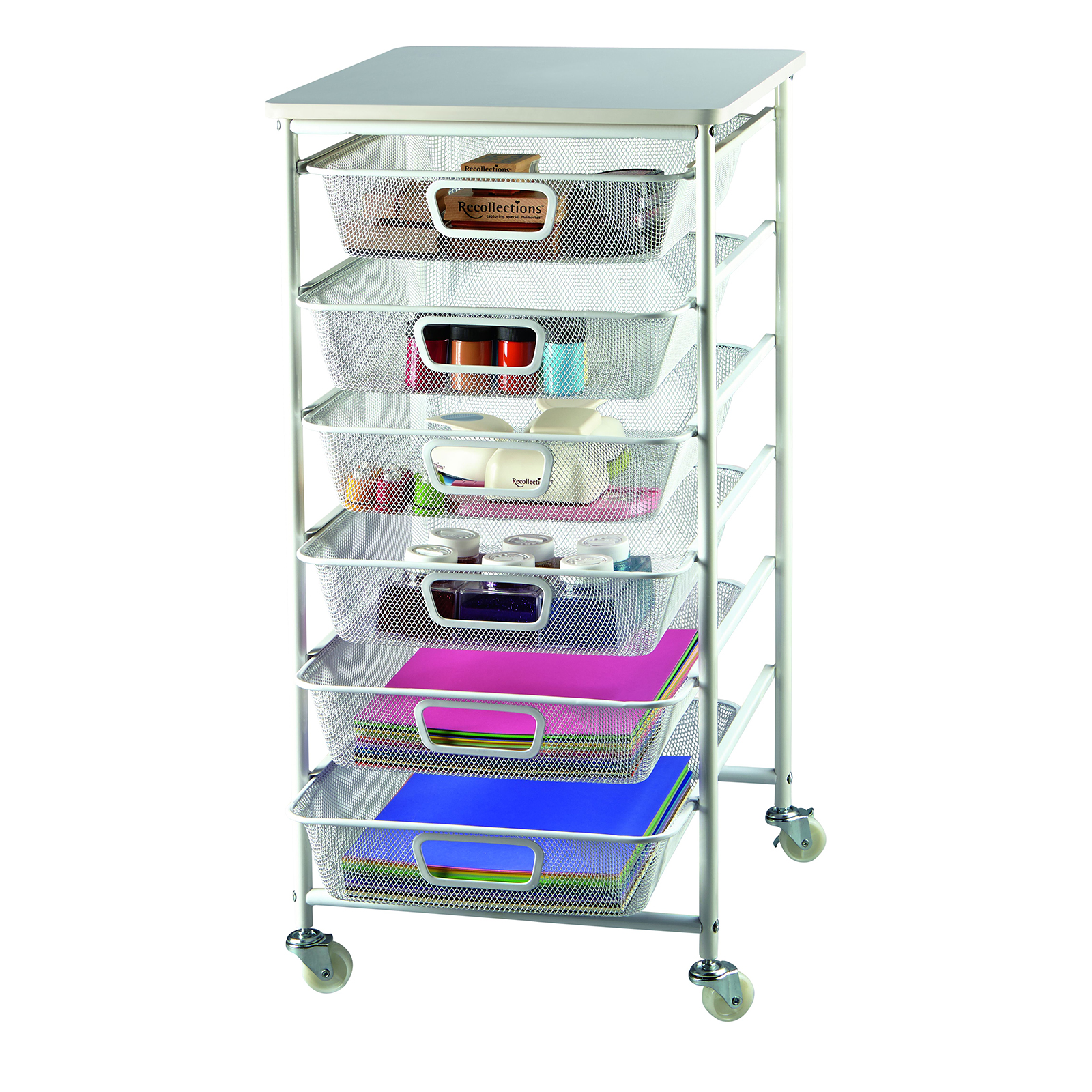 Recollections 6 Drawer Metal Cart