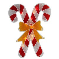 "12"" Lighted Double-Sided Holographic Candy Cane Christmas ..."