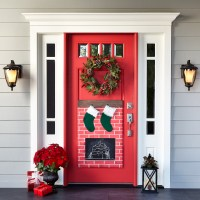 Christmas Fireplace Door Decor