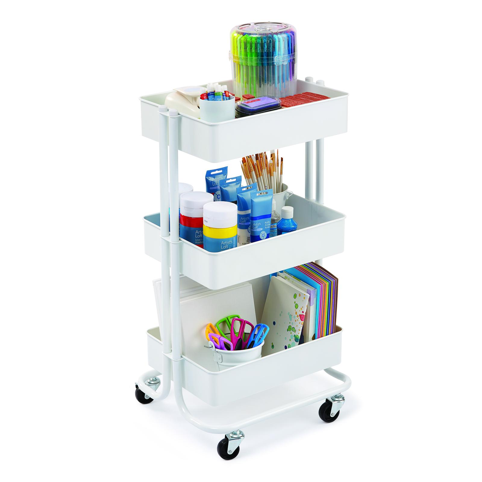 White Lexington 3-tier Rolling Cart