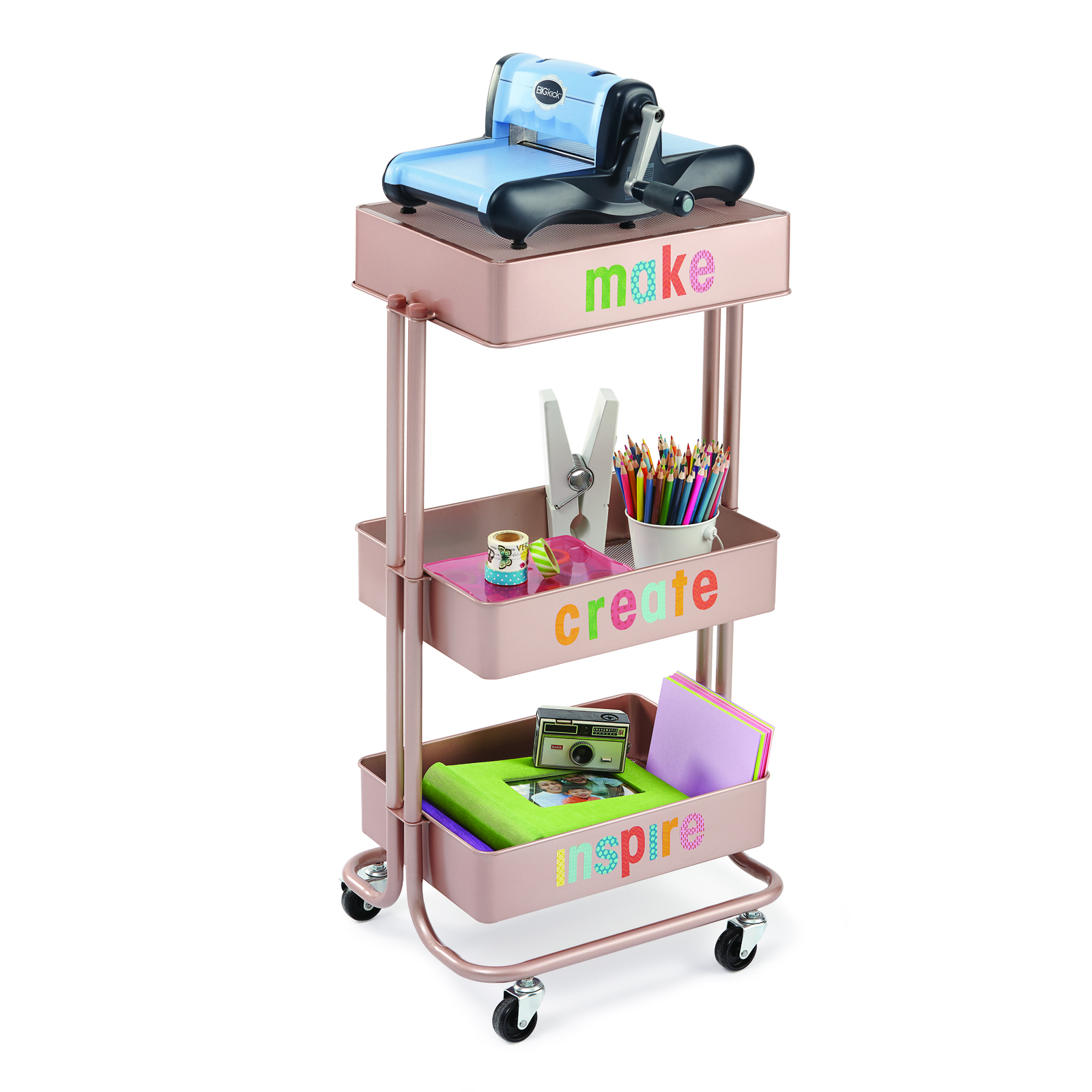 Shop for the Rose Gold Lexington 3Tier Rolling Cart By