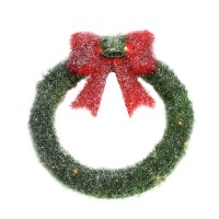"""16"""" Lighted Tinsel Green Wreath with Bow Christmas Window ..."""