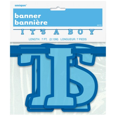 It is a boy baby shower banner decoration